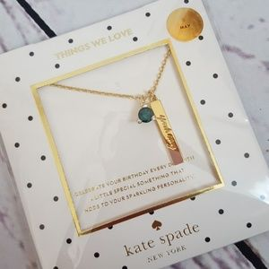 NWT Kate Spade May Birthstone Necklace